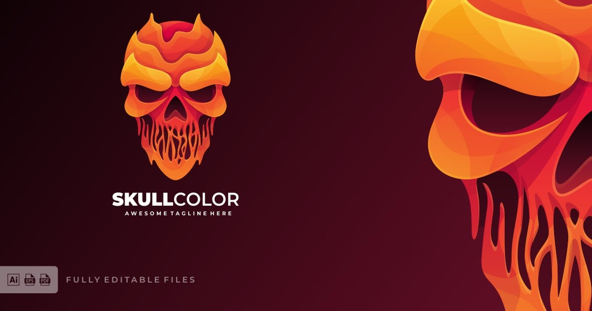 Download Skull Head Liquid Logo Template by ivan_artnivora