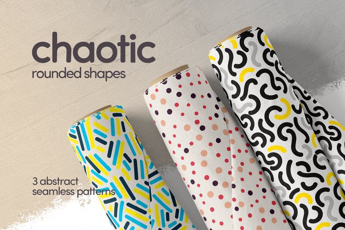 Cover Image For Colorful Chaotic Rounded Shapes Seamless Patterns