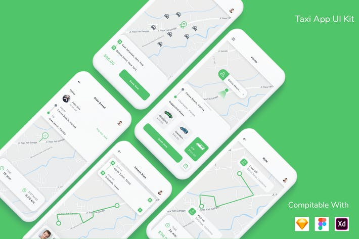 Thumbnail for Taxi App UI Kit
