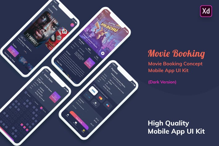 Thumbnail for Movie Booking MobileApp UI Kit Dark Version (XD)
