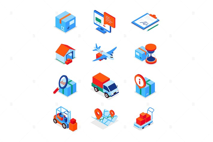 Transportation and logistics - isometric icons