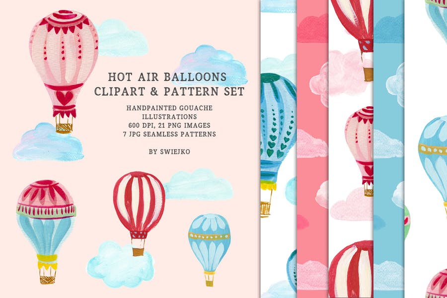 Hot Air Balloons clipart & pattern set