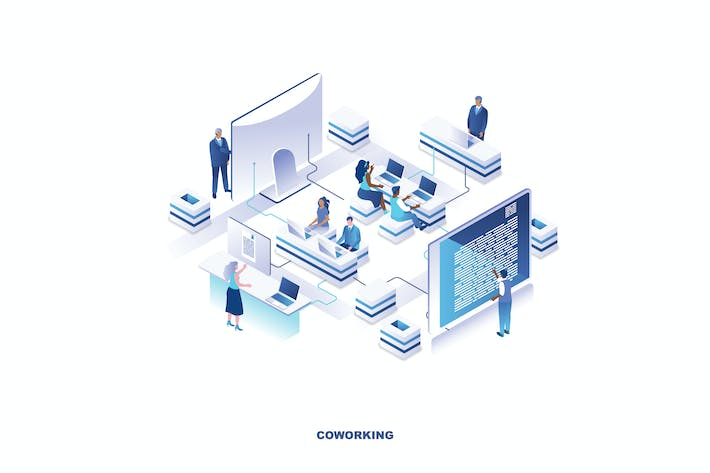 Thumbnail for Coworking Office Isometric Banner Flat Concept
