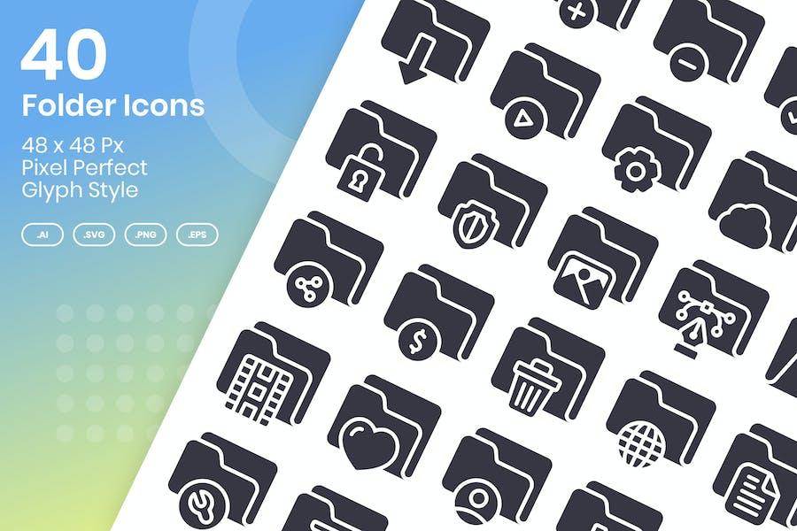 40 Folder Icons Set - Glyph