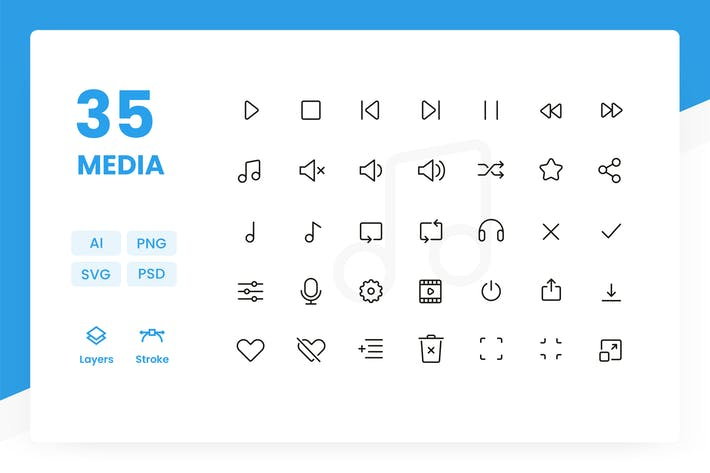 Thumbnail for Media - Icons Pack