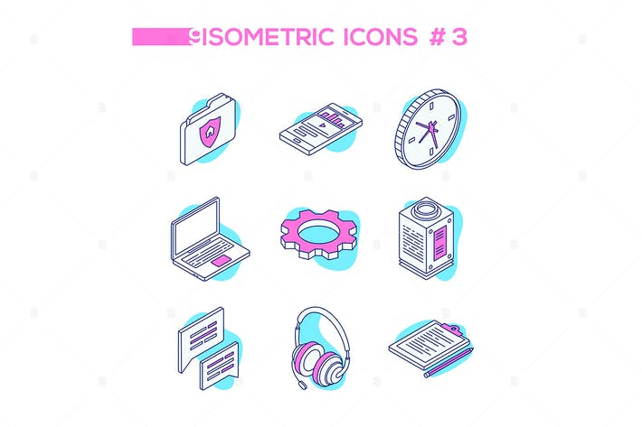 Thumbnail for Technology and business - isometric icons