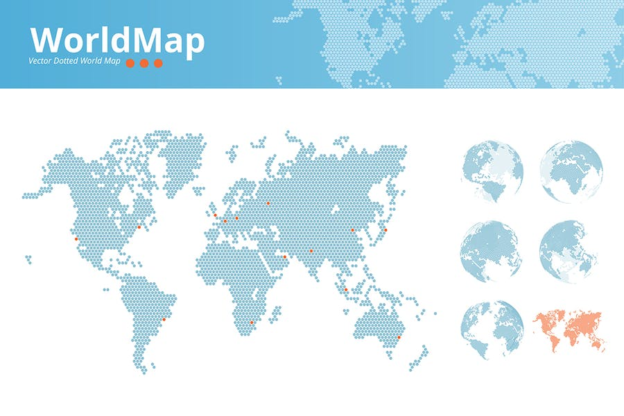 Vector dotted world map
