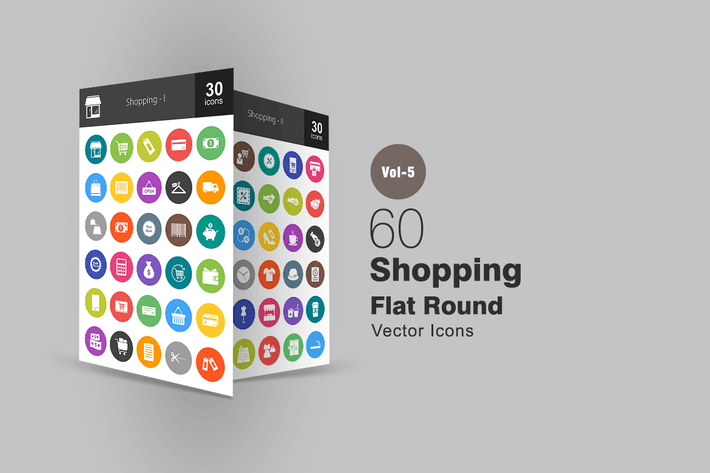 Thumbnail for 60 Shopping Flat Round Icons