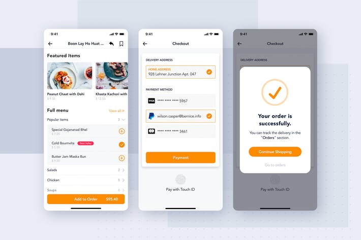 Thumbnail for Checkout & Payment app screen for Food