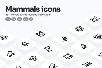 Mammals Line Icons