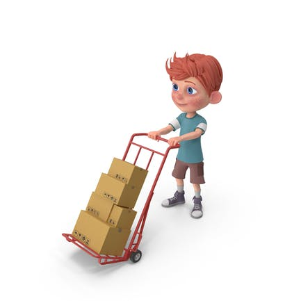 Cartoon Boy Charlie Carrying Boxes