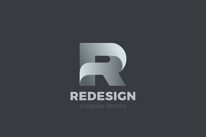 Letter R Logo design 3D Ribbon style