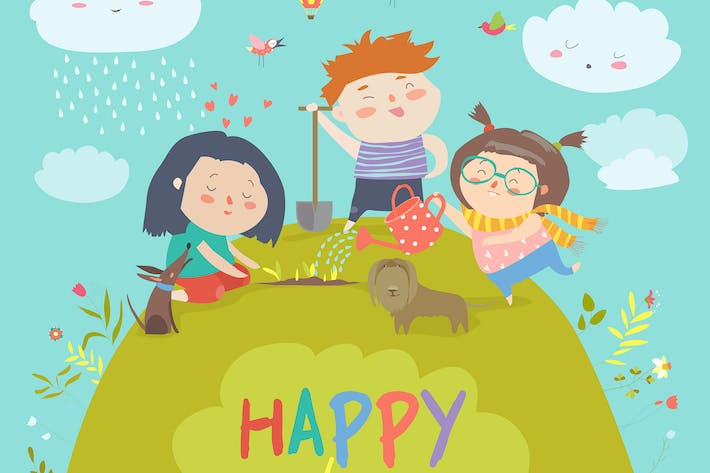 Thumbnail for Happy children gardening on lawn. Vector