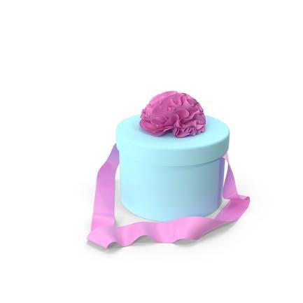 Hellblaue runde Box mit rosa Schleife