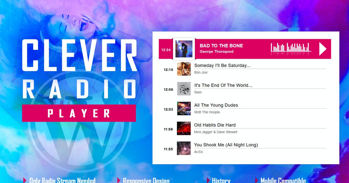 Download CLEVER - HTML5 Radio Player With History WP Plugin by LambertGroup