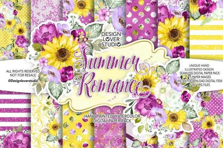 Thumbnail for Summer Romance digital paper pack