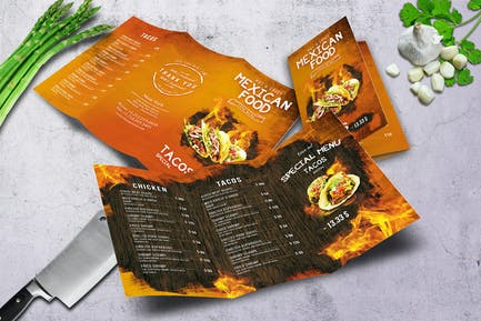 Mexican A4 US Letter Trifold Food Menu
