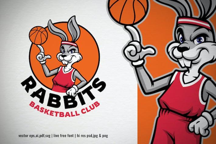 Thumbnail for dessin animé lapin basket-ball Logo mascotte