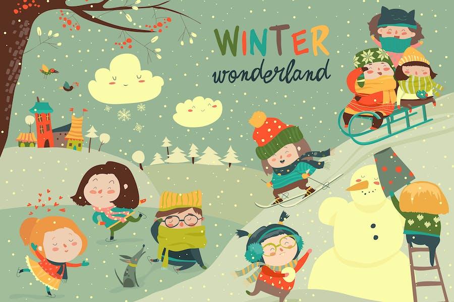 Ilustración Vector, Niños lindos jugando Juego de invierno