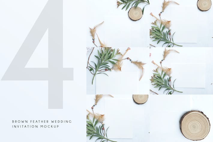 Thumbnail for Brown Feather Wedding Invitation Mockup