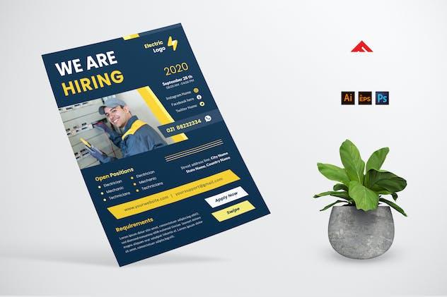 Electrician Job Hiring Flyer Advertisement