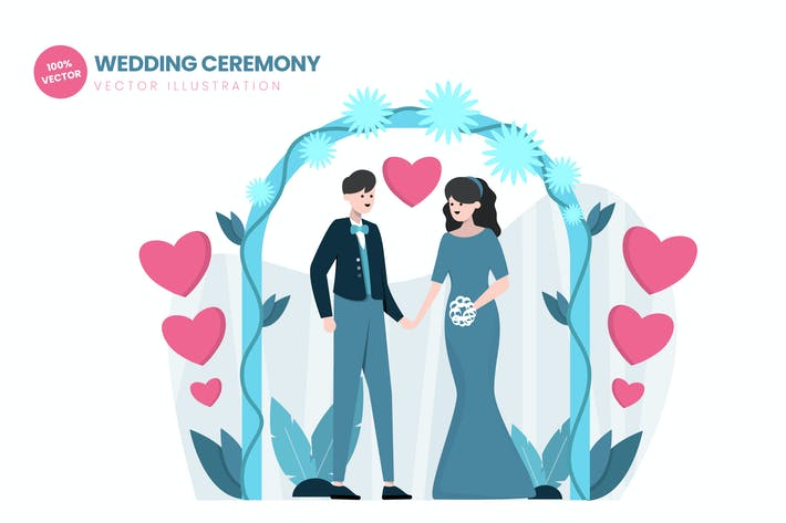 Thumbnail for Wedding Ceremony Flat Vector Illustration