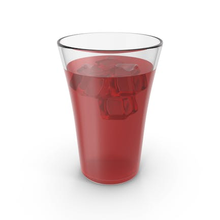 Glass Cup With Red Juice & Ice