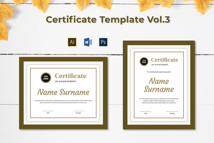 Cover Image For Certificate Template Vol.3