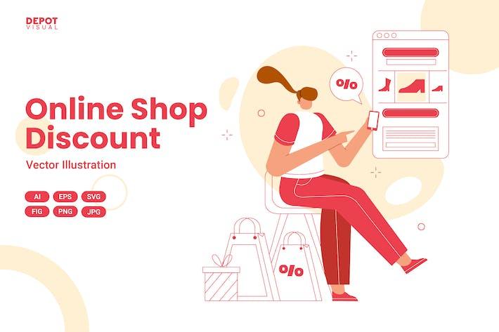 Online Shop Discount Illustration