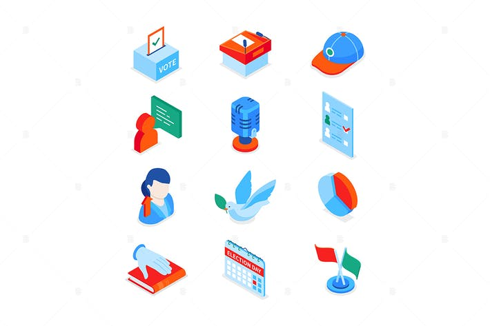 Election and voting - colorful isometric icons