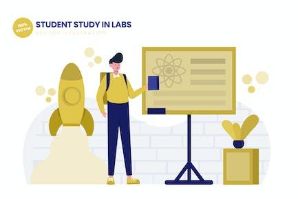 Student Study In Labs Flat Vektor Illustration
