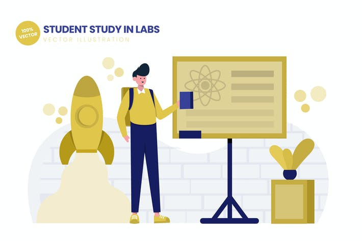 Thumbnail for Student Study In Labs Flat Vector Illustration