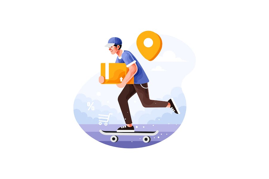 Delivery Service Order with Skateboard