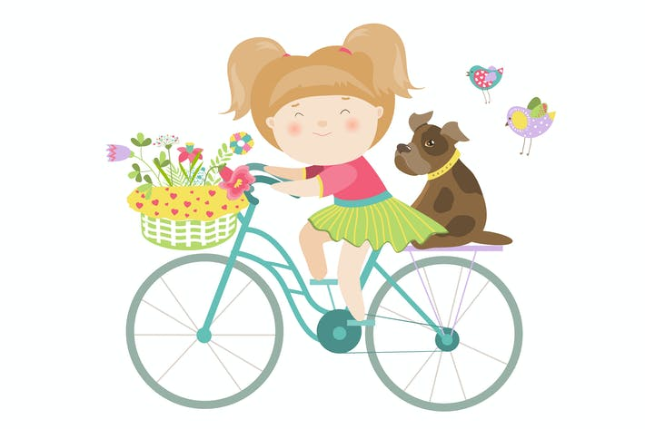 Thumbnail for Cute beautiful girl in dress rides a bike. Vector