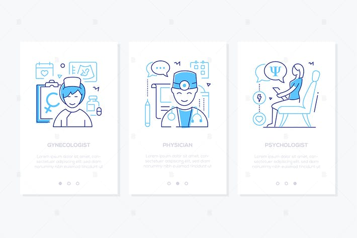 Thumbnail for Medical professions line design style web banners