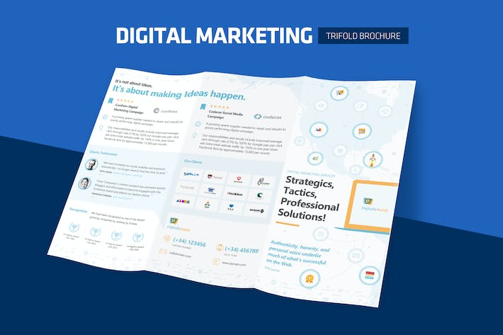 Thumbnail for Clean Digital Marketing Trifold Broschüre
