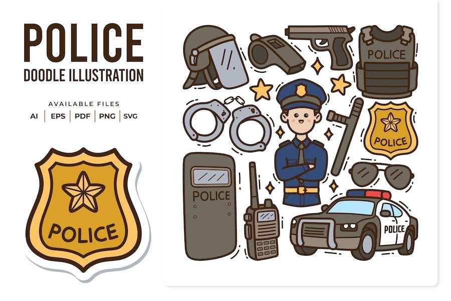 Police Doodle Illustration