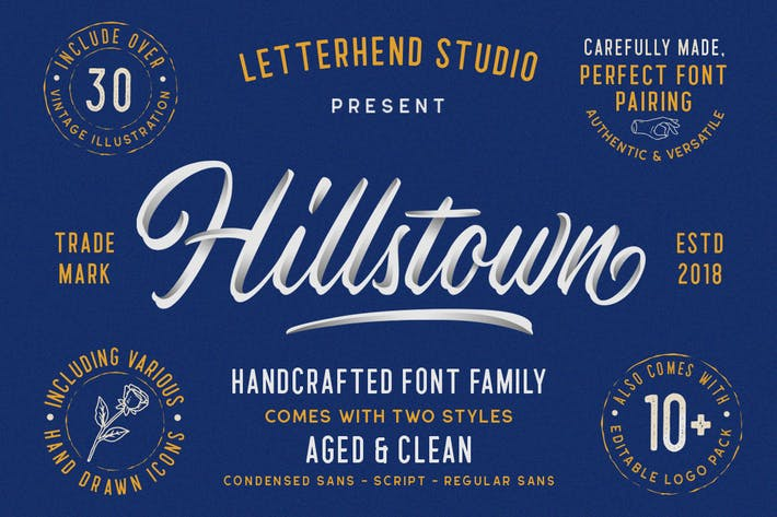 Thumbnail for Hillstown Font Collection (+EXTRA)