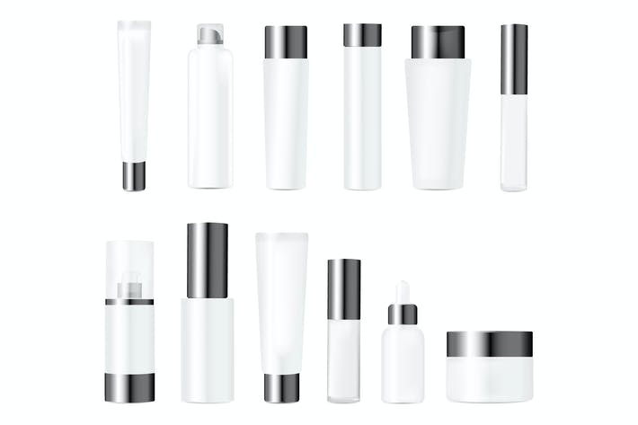 Realistic Bottles for Various Cosmetics