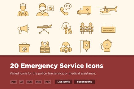20 Notfalldienst-Symbole