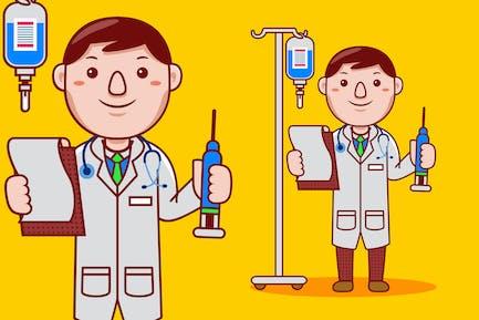 Mann Doktor Beruf Cartoon Vektor
