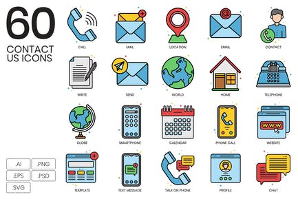 60 Contact Us Icons