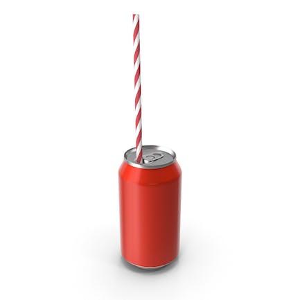Red Soda lata con pajita