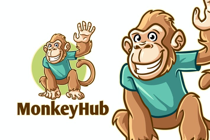 Thumbnail for Cartoon Funny Monkey Mascot Logo