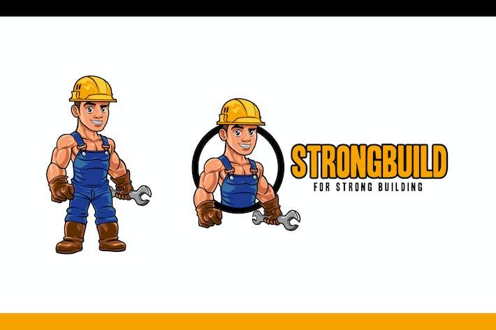 Thumbnail for Cartoon Strong Muscular Builder Mascot Logo