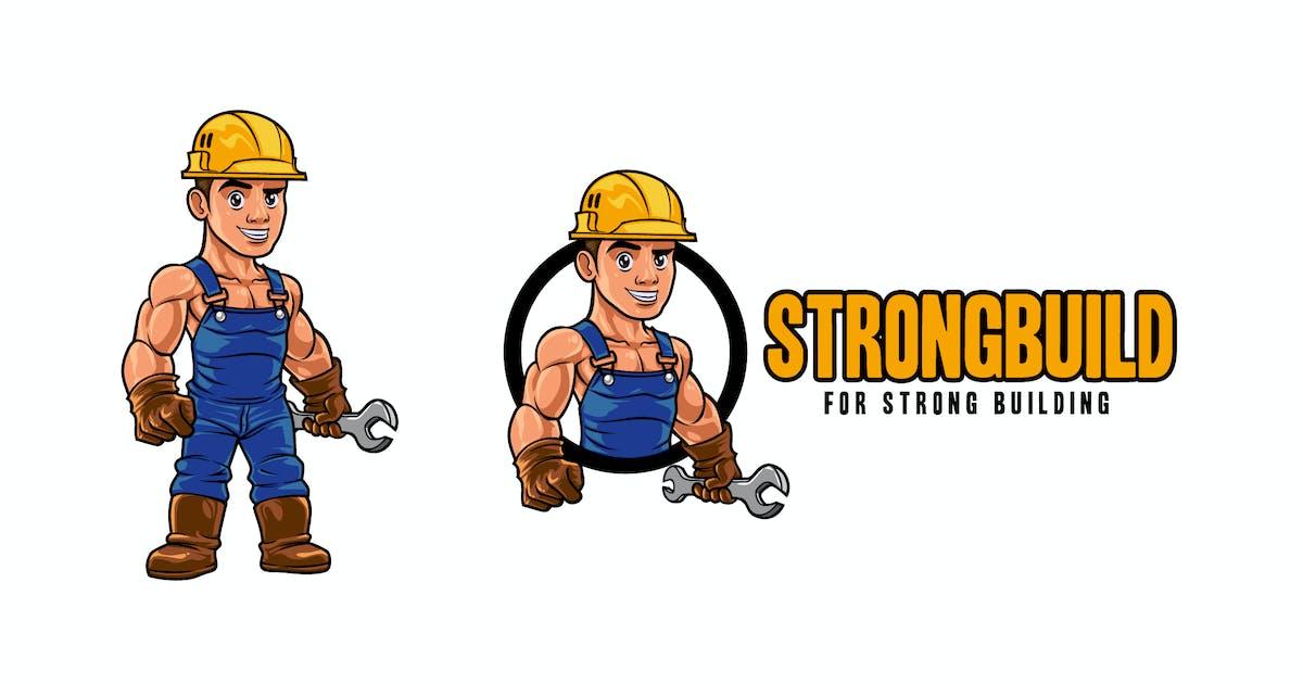 Download Cartoon Strong Muscular Builder Mascot Logo by Suhandi