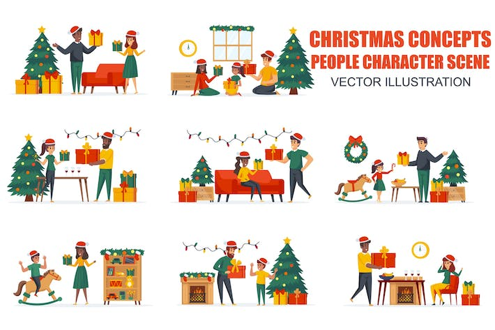 Thumbnail for Gifts Presenting Christmas People Character Scenes