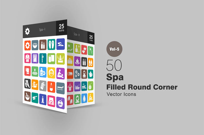 Thumbnail for 50 Spa Flat Round Corner Icons