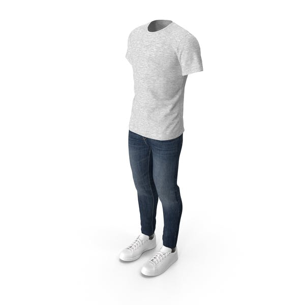 Men T-Shirt Jeans and Sneakers