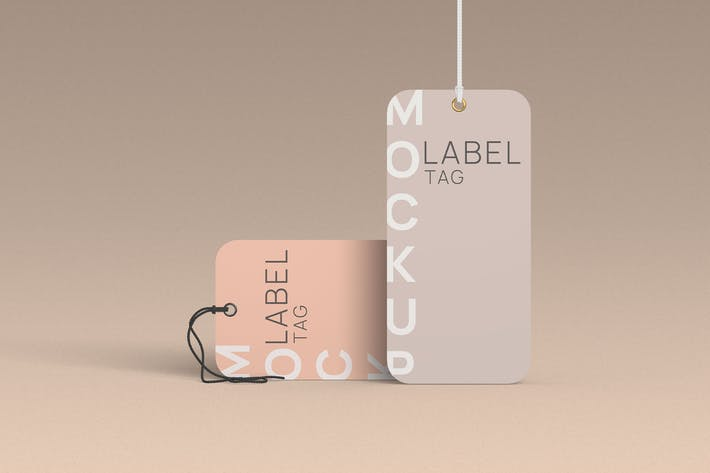 Thumbnail for Rounded Label Tag Mockup Front Angle View